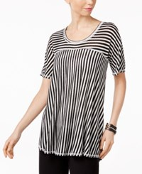 Ny Collection Mixed Stripe High Low T Shirt Black White