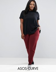 Asos Curve Basic Joggers With Tie Berry Red