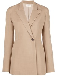 The Row Boxy Fit Buttoned Blazer Brown