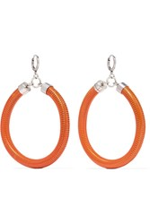 Isabel Marant Enameled Silver Tone Earrings Orange