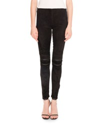 Saint Laurent Suede Moto Leggings Black