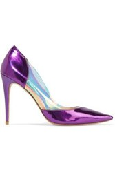 Lucy Choi London Woman Metallic Leather And Pvc Pumps Purple