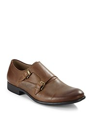 John Varvatos Star S Leather Monk Strap Shoes Tan