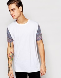 Asos T Shirt With Aztec Print Sleeves And Chest Print In Relaxed Fit White