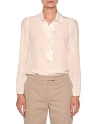 Agnona Ruffle Placket Silk Blouse Off White