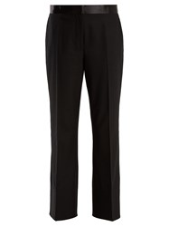 Elizabeth And James Mira Cropped Flared Leg Twill Trousers Black