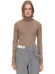 Rochas Striped Virgin Wool Turtleneck Beige