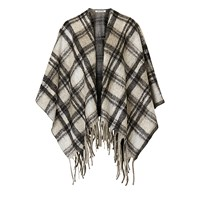 Betty Barclay Check Knitted Poncho Black Beige