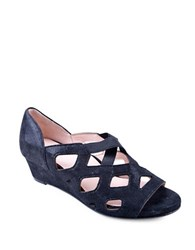 Taryn Rose Soukey Suede Wedge Sandals Navy
