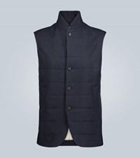 Loro Piana Quilted Linen Vest Blue
