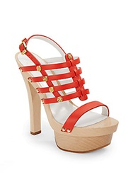 Versace Strappy Studded Leather Platform Sandals Orange