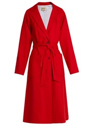 Sea Notch Lapel Wool Overcoat Red
