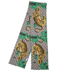 Gucci Tibetan Tiger Gg Plus Silk Twill Scarf