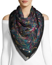 Liberty London Orion Silk Feather Scarf Black