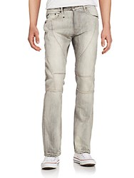 Mostly Heard Rarely Seen Cut Panel Bleached Jeans Light Grey