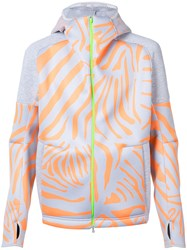 Adidas By Kolor Tiger Print Zipped Hoodie Grey