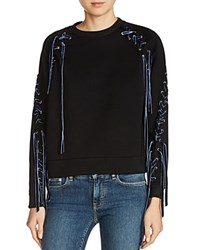Maje Triangle Lace Up Detail Sweatshirt Black