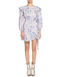 Etoile Isabel Marant Telicia Printed Linen Ruffle Belted Dress Dark Blue