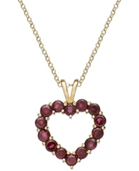 Victoria Townsend 18K Gold Over Sterling Silver Necklace Garnet Open Heart Pendant 4 5 8 Ct. T.W.