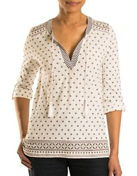 Olsen Patterned Peasant Top Off White