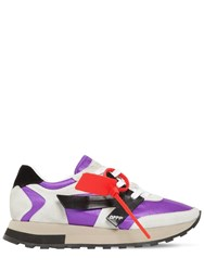 Off White 30Mm Hg Leather And Nylon Runner Sneakers Grey Purple