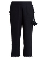Figue Remy Wide Leg Silk Blend Trousers Navy