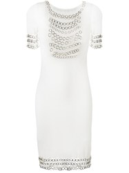 Christian Dior Vintage Chainmail Short Sleeve Dress White
