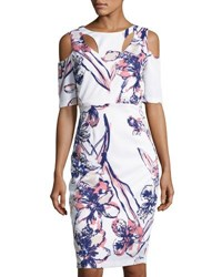 Jax Floral Print Cold Shoulder Sheath Dress White Pattern