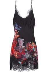 Carine Gilson Lace Trimmed Floral Print Silk Satin Chemise Burgundy