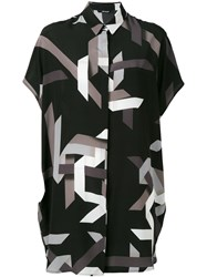 Neil Barrett Geometric Print Shirt Dress Black