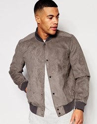 New Look Faux Suede Bomber In Mink Mink Beige