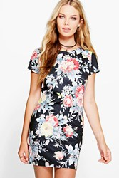 Boohoo Scuba Floral Bodycon Dress Multi