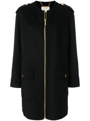 Michael Michael Kors Collarless Zip Up Coat Wool Polyester Black