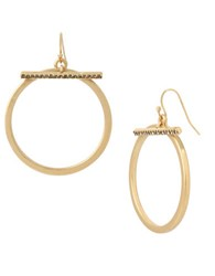 Kenneth Cole Pave Bar Gypsy Hoop Earrings Gold