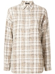 R 13 R13 Checked Shirt Cotton S Nude Neutrals