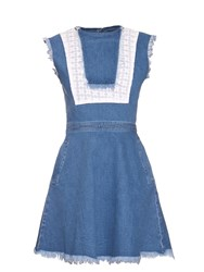 House Of Holland Distressed Denim Bib Front Dress