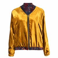 Klements Penny Bomber Reversible In Gold Velvet And Gothic Floral Print