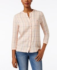 Calvin Klein Jeans Plaid Henley Shirt Cloud Pink