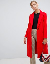 Boohoo Tailored Twill Coat In Red Red