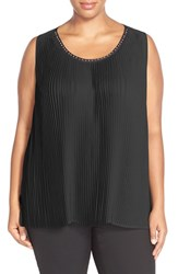 Plus Size Women's Melissa Mccarthy Seven7 Studded Neck Pleat Front Tank Black