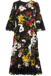 Dolce And Gabbana Lace Trimmed Floral Print Silk Blend Midi Dress Black