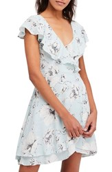 Free People French Quarter Print Wrap Minidress Mint