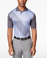 Greg Norman For Tasso Elba Men's Striped Colorblocked Polo Shirt Only At Macy's Peri Gloss