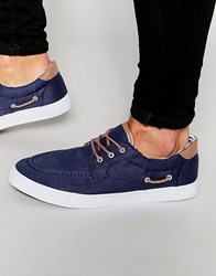 Asos Boat Shoes In Navy Canvas Navy