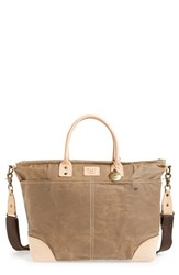 Men's Will Leather Goods Coated Canvas Tote Brown Khaki