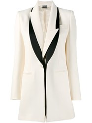 Alexander Mcqueen Asymmetric Peaked Lapel Blazer Nude And Neutrals
