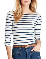 Polo Ralph Lauren Striped Cotton Boatneck Tee White