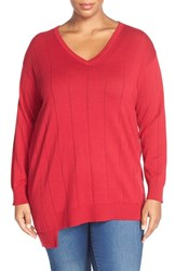 Plus Size Women's Vince Camuto Asymmetrical V Neck Sweater
