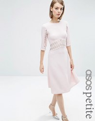 Asos Petite Midi Skater Dress With Lace Insert Pink Purple