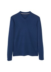 Mango Men's V Neck Wool Sweater Navy